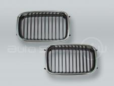 Chrome/Black Front Grille PAIR fits 1992-1996 BMW 3-Series E36