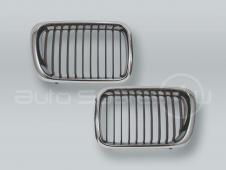Chrome/Black Front Grille PAIR fits 1997-1998 BMW 3-Series E36