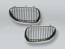Chrome/Black Front Grille PAIR fits 2004-2009 BMW 5-Series E60 E61
