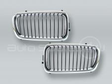 Chrome/Black Front Hood Grille PAIR fits 1999-2001 BMW 7-Series E38