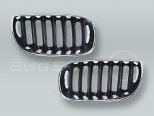 Chrome/Black Front Grille PAIR fits 2004-2006 BMW X3 E83