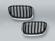 Chrome/Black Front Hood Grille PAIR fits 2005-2006 BMW X5 E53