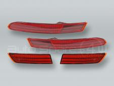 Red Rear Inner and Outer Bumper Reflectors Covers PAIR fits 2015-2018 VW Touareg